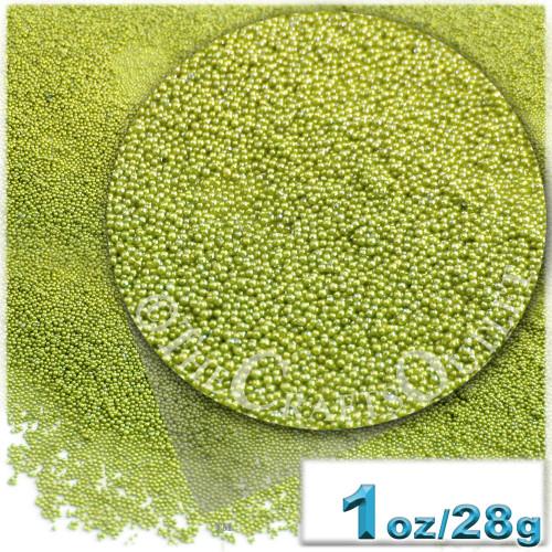 Glass Beads, Microbeads, Opaque, Metallic coated, 0.6mm, 1-oz, Lime Green