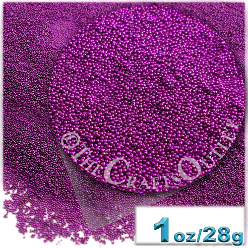 Glass Beads, Microbeads, Opaque, Metallic coated, 0.6mm, 1-oz, Fuchsia