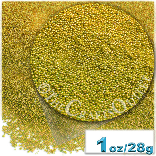 Glass Beads, Microbeads, Opaque, Metallic coated, 0.6mm, 1-oz, Gold