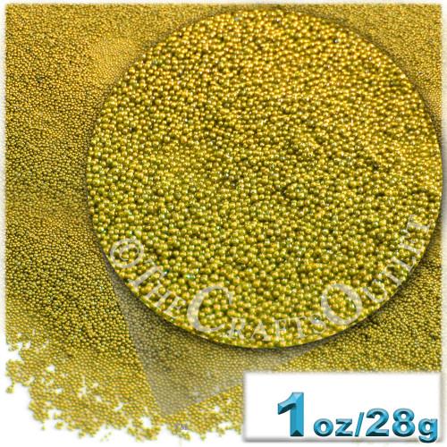 Glass Beads, Microbeads, Opaque, Metallic coated, 0.6mm, 1-oz, Gold