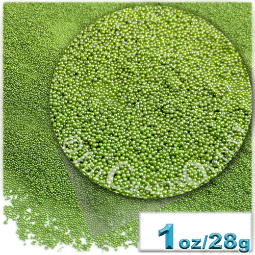 Glass Beads, Microbeads, Opaque, Metallic coated, 0.6mm, 1-oz, Light Green