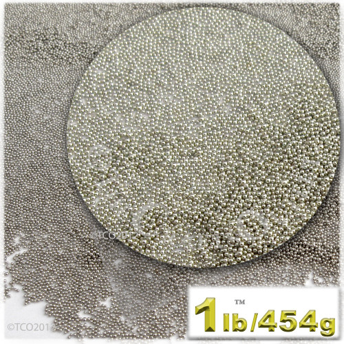 Glass Beads, Microbeads, Opaque, Metallic coated, 0.6mm, 1-lb, Bright Silver