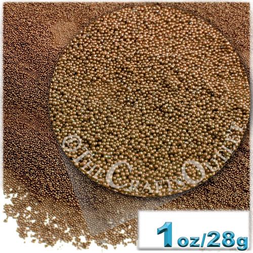 Glass Beads, Microbeads, Opaque, Metallic coated, 0.6mm, 1-oz, Mocha Brown