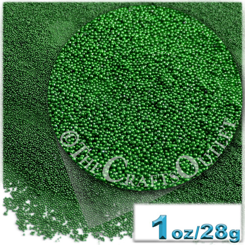 Glass Beads, Microbeads, Opaque, Metallic coated, 0.6mm, 1-oz, Emerald Green