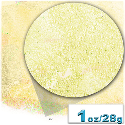Glass Beads, Microbeads, Transparent, Opal, 0.6mm, 1-oz, Yellow