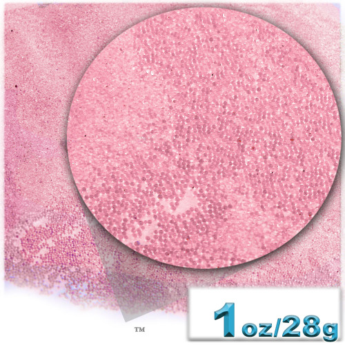 Glass Beads, Microbeads, Transparent, Opal, 0.6mm, 1-oz, Bubble Pink