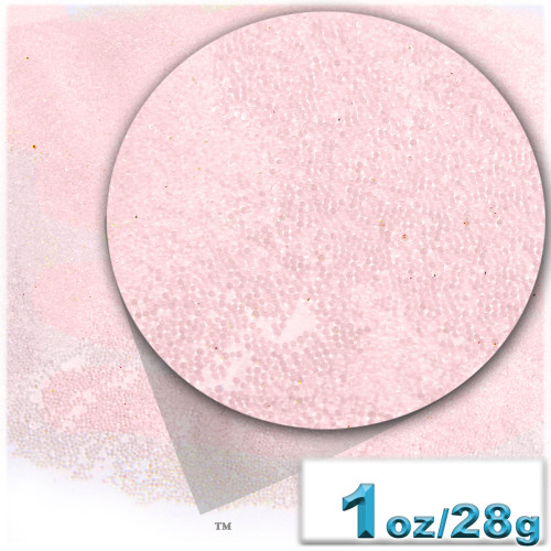 Glass Beads, Microbeads, Transparent, Opal, 0.6mm, 1-oz, Satin Pink