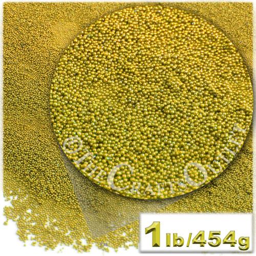 Glass Beads, Microbeads, Opaque, Metallic coated, 0.6mm, 1-lb, Gold