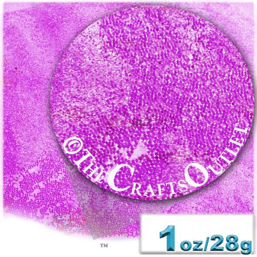 Glass Beads, Microbeads, Transparent, Opal, 0.6mm, 1-oz, Fuchsia