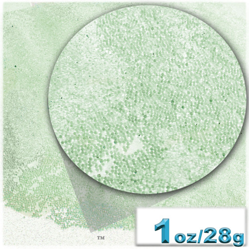 Glass Beads, Microbeads, Transparent, Opal, 0.6mm, 1-oz, Pale Green