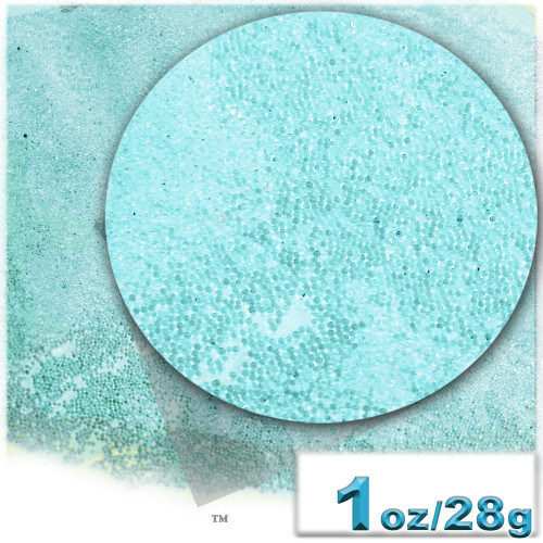 Glass Beads, Microbeads, Transparent, Opal, 0.6mm, 1-oz, Aquamarine