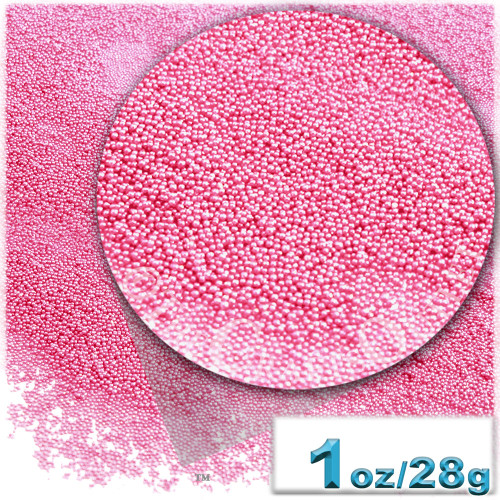 Glass Beads, Microbeads, Opaque, 0.6mm, 1-oz, Pink