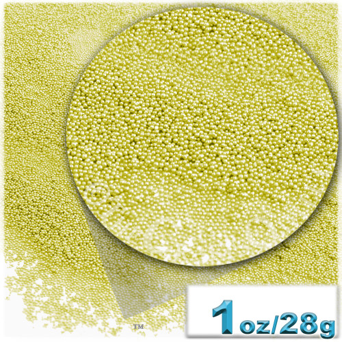 Glass Beads, Microbeads, Opaque, 0.6mm, 1-oz, Florescent yellow