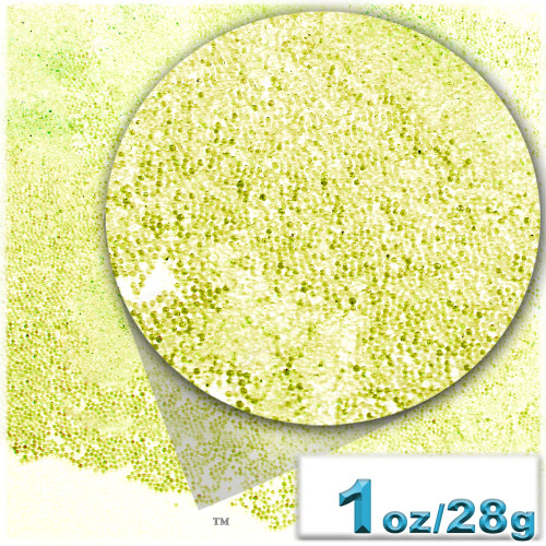 Glass Beads, Microbeads, Transparent, 0.6mm, 1-oz, Lemon Yellow