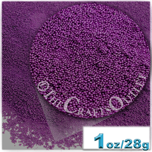 Glass Beads, Microbeads, Opaque, 0.6mm, 1-oz, Deep Purple