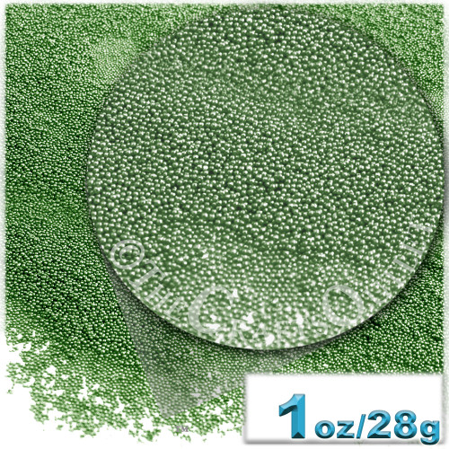 Glass Beads, Microbeads, Opaque, 0.6mm, 1-oz, Emerald Green