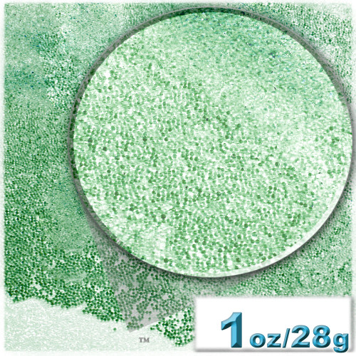 Glass Beads, Microbeads, Transparent, 0.6mm, 1-oz, Emerald Green