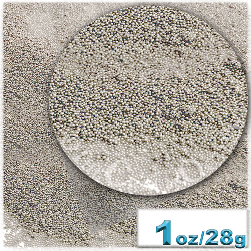 Glass Beads, Microbeads, Opaque, 0.6mm, 1-oz, Taupe Gray
