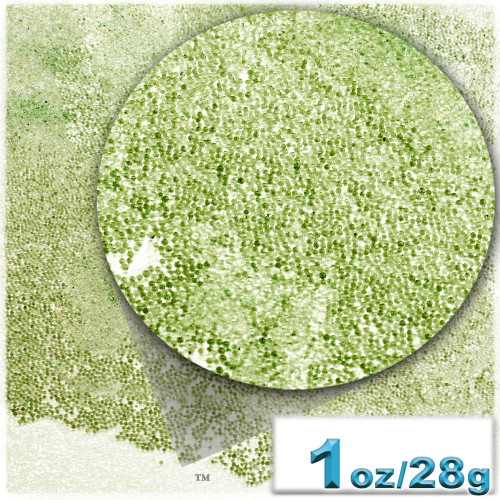 Glass Beads, Microbeads, Transparent, 0.6mm, 1-oz, Olive Green