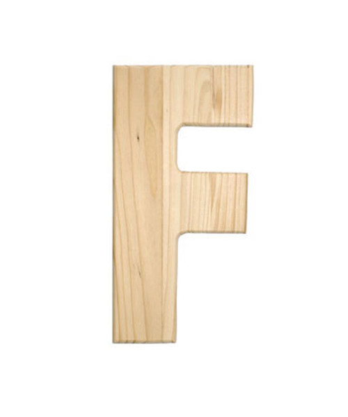 Unfinished Wood, 12-in, 2-in Thick, Letter, Letter F