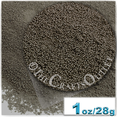 Glass Beads, Microbeads, Opaque, 0.6mm, 1-oz, Charcoal Gray