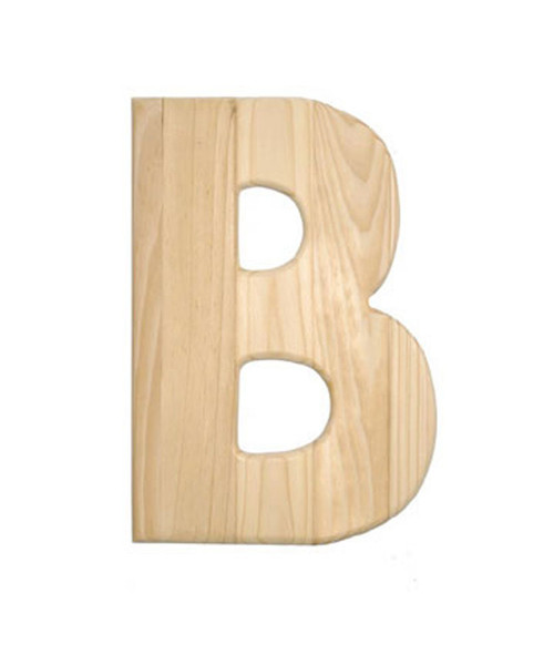 Unfinished Wood, 12-in, 2-in Thick, Letter, Letter B