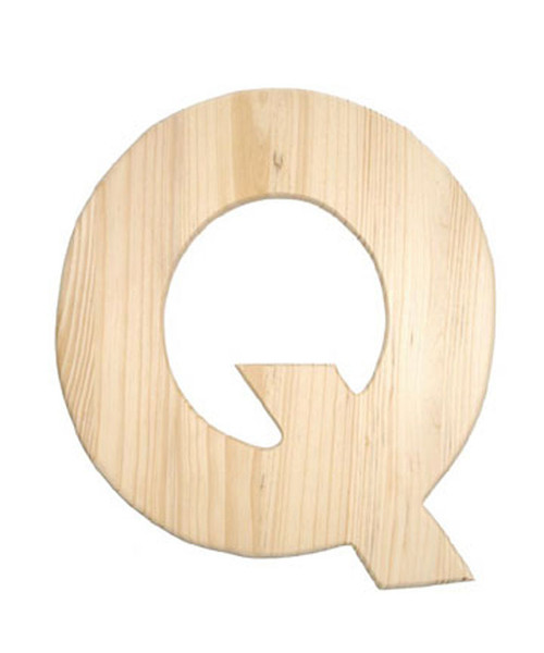 Unfinished Wood, 12-in, 2-in Thick, Letter, Letter Q