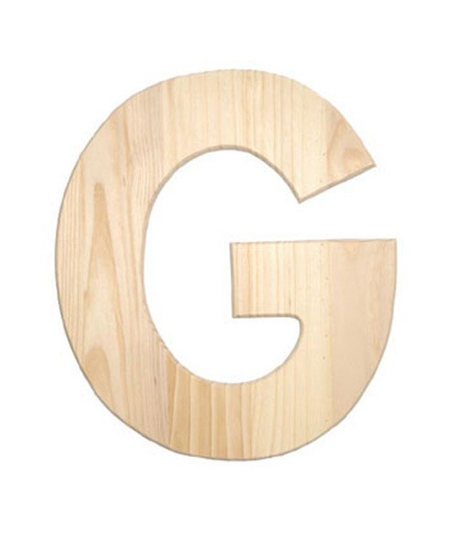 Unfinished Wood, 12-in, 2-in Thick, Letter, Letter G