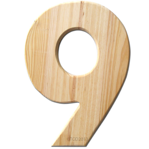 Unfinished Wood, 12-in, 2-in Thick, Number, Number 9