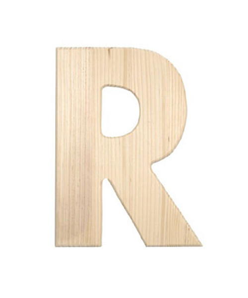 Unfinished Wood, 12-in, 2-in Thick, Letter, Letter R