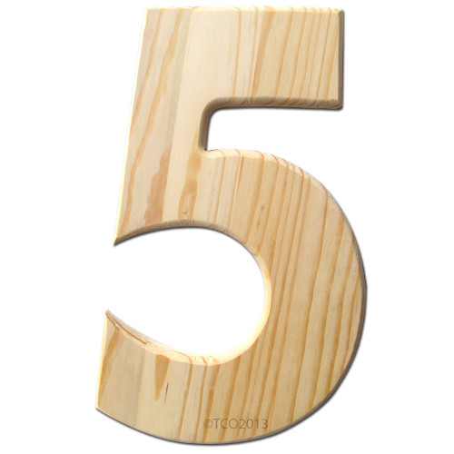 Unfinished Wood, 12-in, 2-in Thick, Number, Number 5