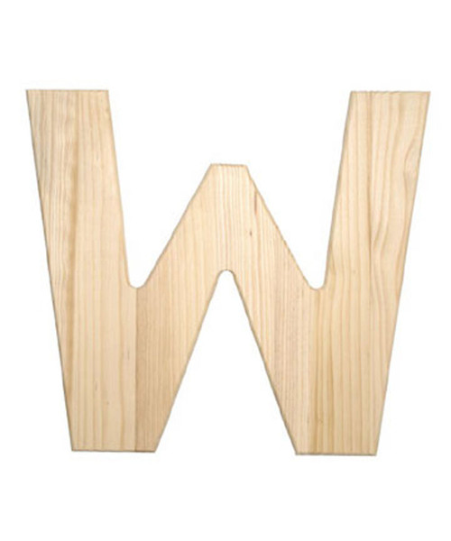 Unfinished Wood, 12-in, 2-in Thick, Letter, Letter W