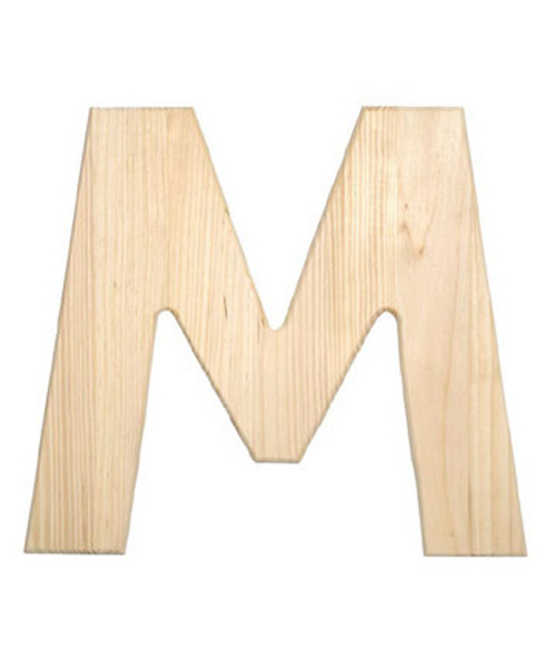 Unfinished Wood, 12-in, 2-in Thick, Letter, Letter M