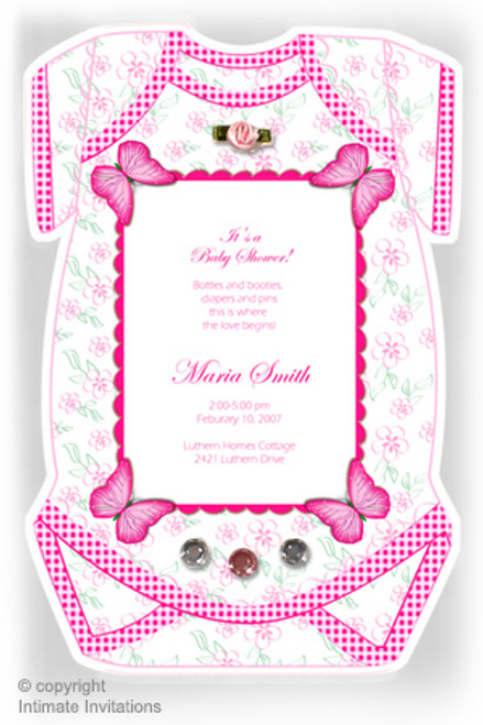 One Baby invitation, Butterflies, ribbon rose, rhinestones, Pink
