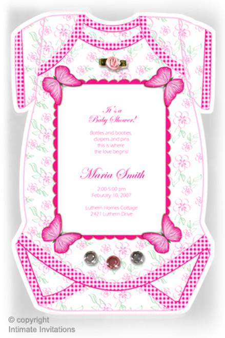 One Baby invitation, Butterflies, ribbon rose, rhinestones, Pink