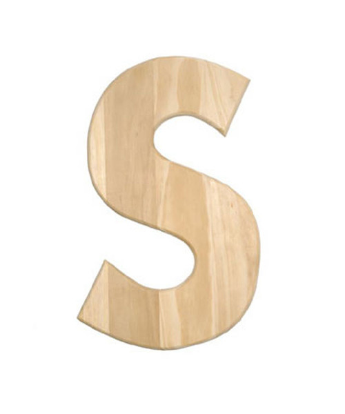 Unfinished Wood, 12-in, 2-in Thick, Letter, Letter S