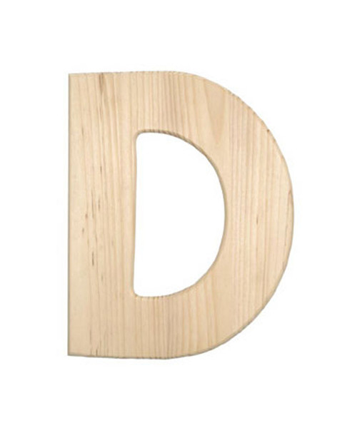 Unfinished Wood, 12-in, 2-in Thick, Letter, Letter D