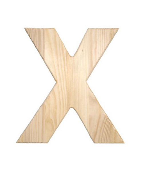 Unfinished Wood, 12-in, 2-in Thick, Letter, Letter X