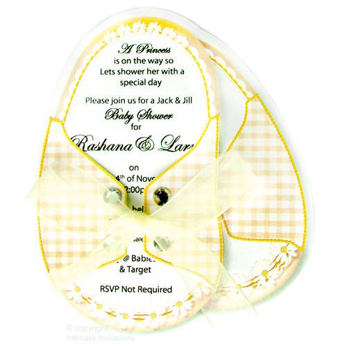 Baby Shower Invitations, Booties ribbon Rinestones, Yellow