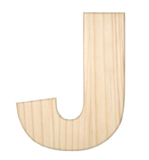 Unfinished Wood, 12-in, 2-in Thick, Letter, Letter J