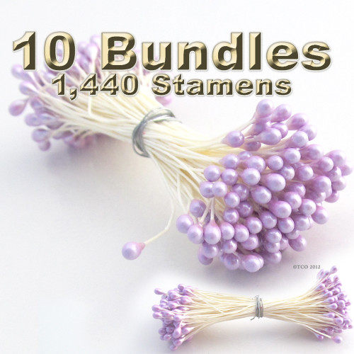 Pearl Stamen, Vintage, 3mm, 1440-pc, White Stem, Satin Purple head
