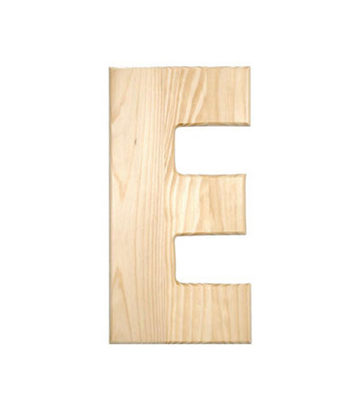Unfinished Wood, 12-in, 2-in Thick, Letter, Letter E