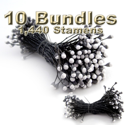 Pearl Stamen, Two Tone, Vintage, 3mm, 1,440-pc, Black head with white tip