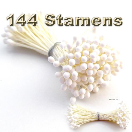 Pearl Stamen, Vintage, 3mm, 144-pc, White Stem, Satin White head