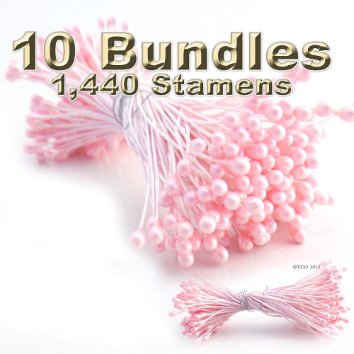 Pearl Stamen, Vintage, 3mm, 1440-pc, White Stem, Satin Pink head