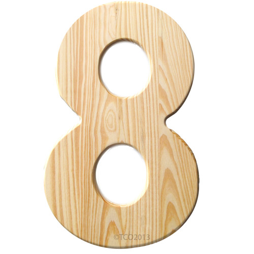 Unfinished Wood, 12-in, 2-in Thick, Number, Number 8
