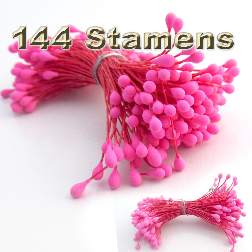 Pearl Stamen, Vintage, 3mm, 144-pc, Hot Pink Stem, Matt Hot Pink head