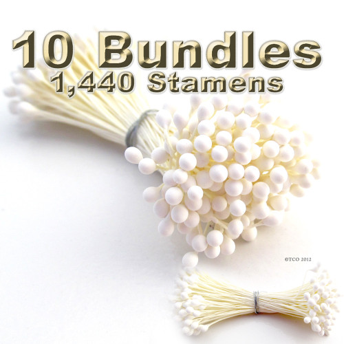 Pearl Stamen, Vintage, 3mm, 1440-pc, White Stem, Satin White head