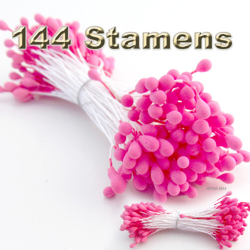Pearl Stamen, Vintage, 3mm, 144-pc, White Stem, Matt Hot Pink head