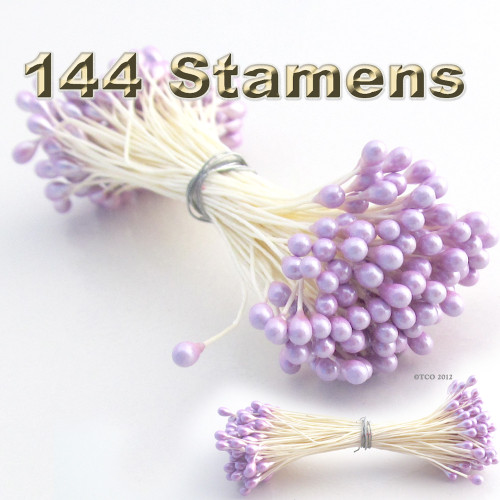 Pearl Stamen, Vintage, 3mm, 144-pc, White Stem, Satin Purple head